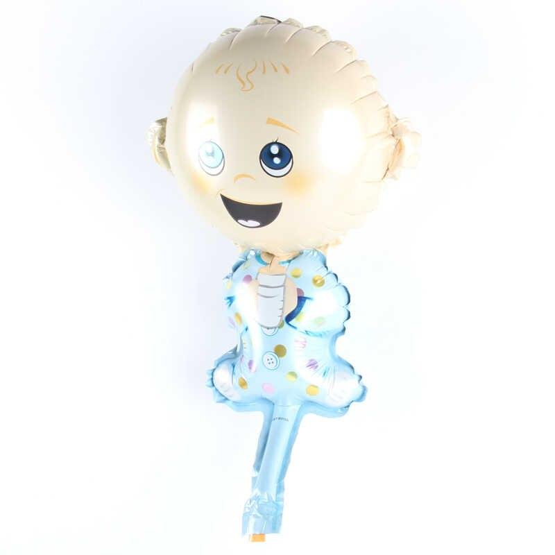 Мини Смеющийся ребенок мальчик мультфильм ручной воздушный шарик из алюминиевой фольги Воздушные шары Дети день рождения партии для украшения детского душа