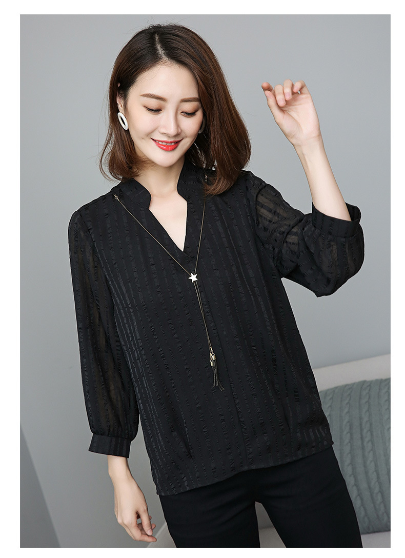 Female Tops Xl Long Ladies Big Plus 2018 New 5xl Arrival Collar xxxxxl Black Stand Casual Blouse Autumn Fashion Sleeves Size 4xl PxPOa6qF