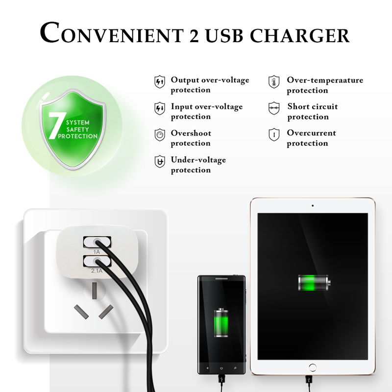 ESVNE 2 USB Charger 5V 2.1A EU Plug USB adapter Wall Mobile Phone Charger for iPhone 5 6 7 iPad Tablet Samsung Xiaomi Charging