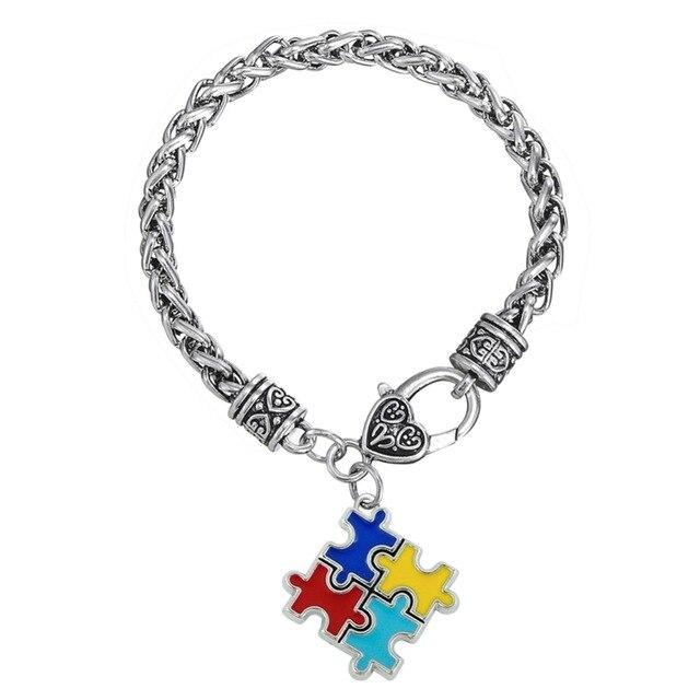 Skyrim Bracelets & Bangles Zinc alloy Enamel Autism Awareness Puzzle Piece  Autistic charm bracelet Trendy link chain bracelet
