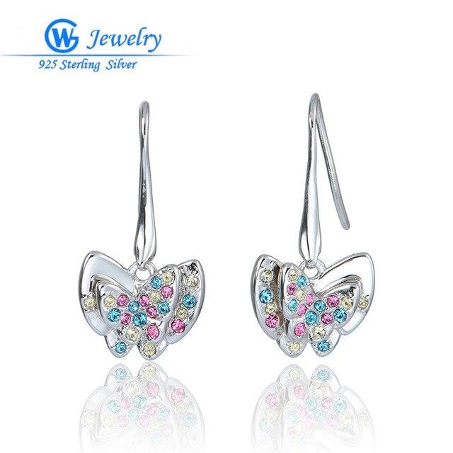 GW Fine Jewelry Fashion Butterfly Mix Color Rhinestone Earrings 925 Sterling Silver Jewelry Earrings For Women ER1035H20