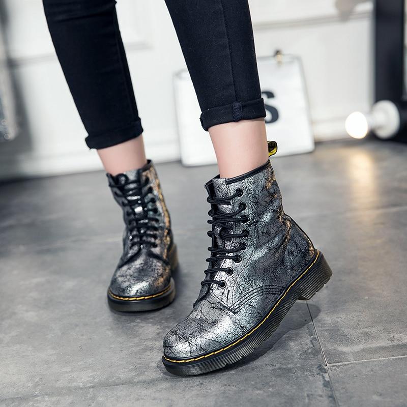 Cheville Silvery 2018 Casual Véritable Femme Newdiscvry Pour Chaussures En forme Trou Bottes Plate Martin Bling Cuir 8 Mode De Femmes B0Bq7n8H