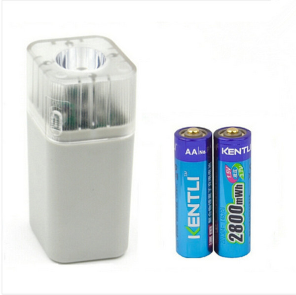 2pcs KENTLI 1.5v 2800mWh Li-polymer li-ion lithium rechargeable AA battery batterie + 4 slots Charger w/ LED flashlight