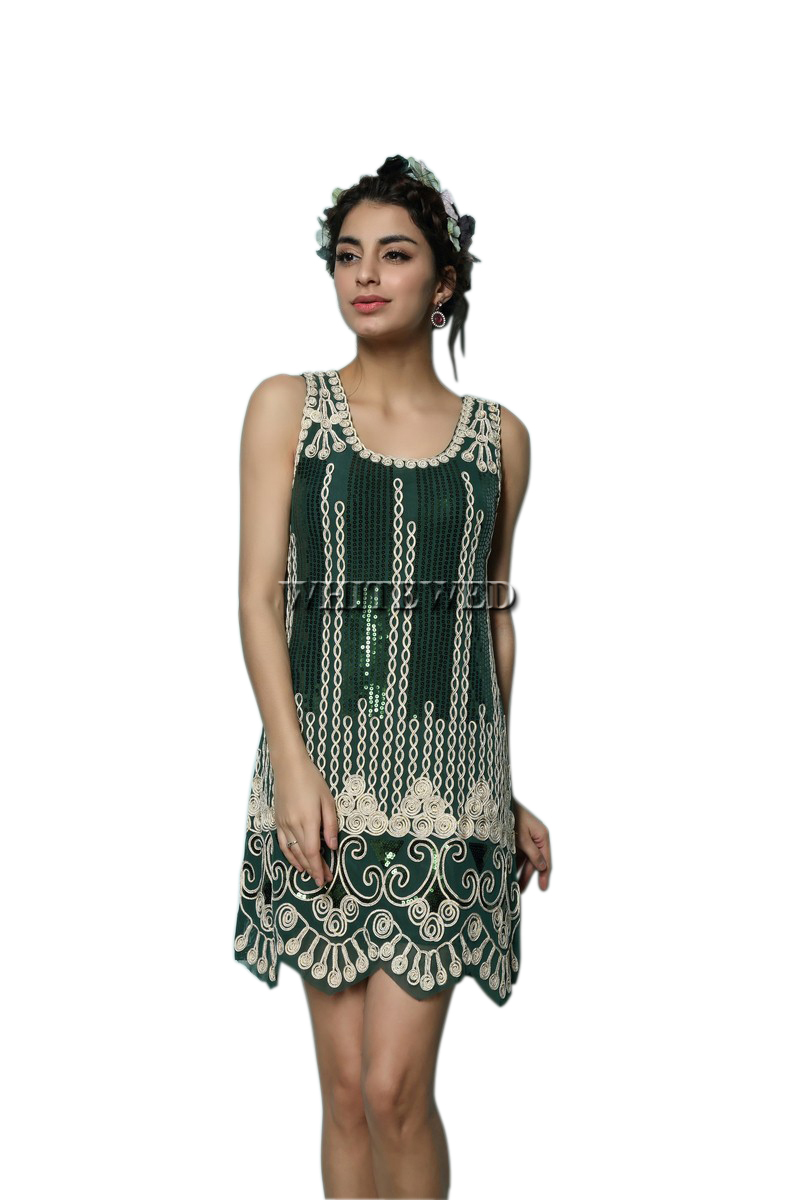 Art Deco Embroidery Sparkle 1920s 20'S Great Gatsby Ladies Flapper ...