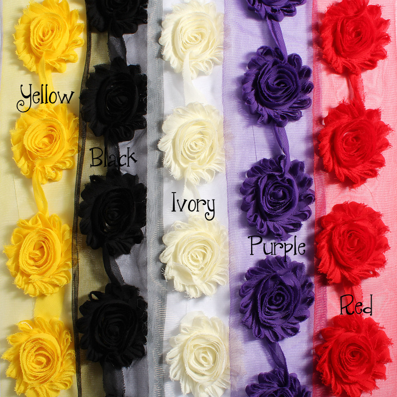 Acheter 10 Mètres 6.5 cm Chic En Mousseline de Soie Frangée Minable Garniture pour les Filles Cheveux Accessoires Minable Fleur Chic pour Bandeaux Minable Rose fleur de Artificielle et Fleurs Séchées fiable fournisseurs