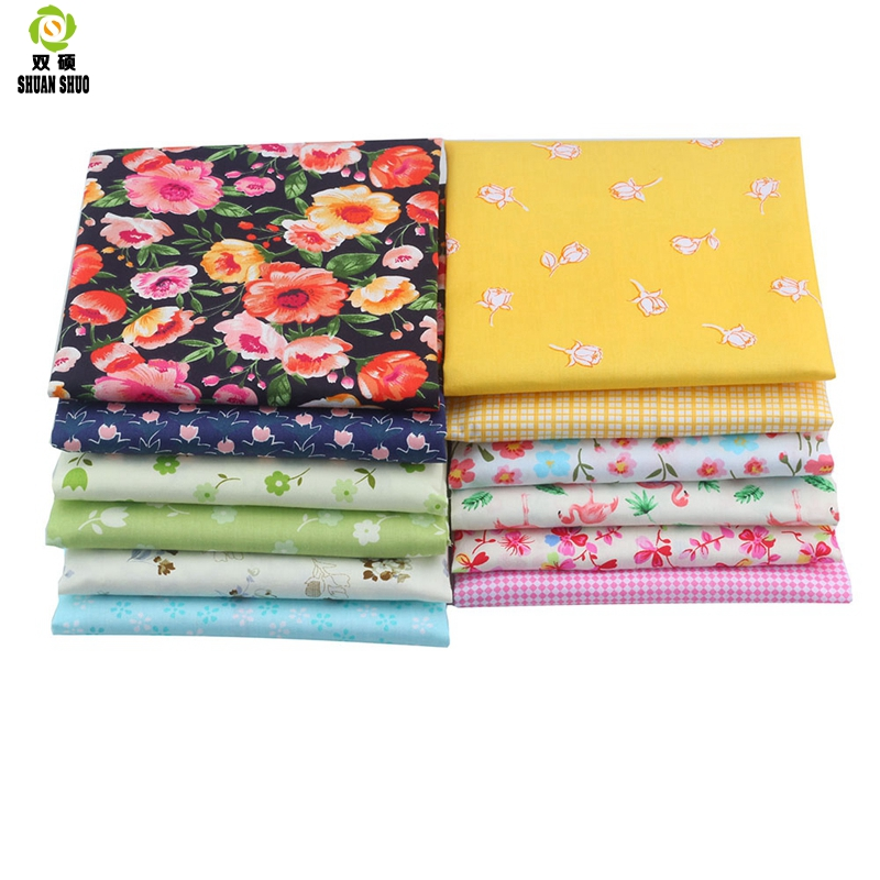Shuanshuo Flower Series Twill Cotton Fabric Patchwork Cloth Of Handmade DIY Quilting Sewing Textile Material BY Half MeterShuanshuo Flower Series Twill Cotton Fabric Patchwork Cloth Of Handmade DIY Quilting Sewing Textile Material BY Half Meter