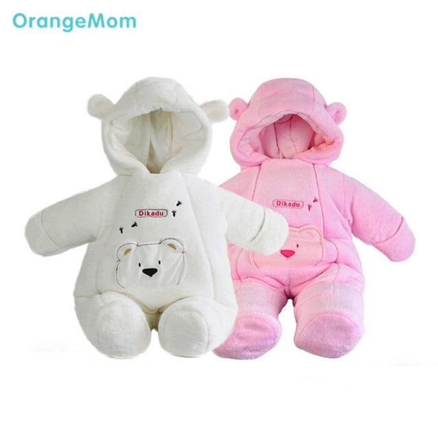 2017 moda estilo newborn clothing coral do velo casacos casacos de inverno para as meninas do bebê macacões de inverno da marca outerwear crianças meninos