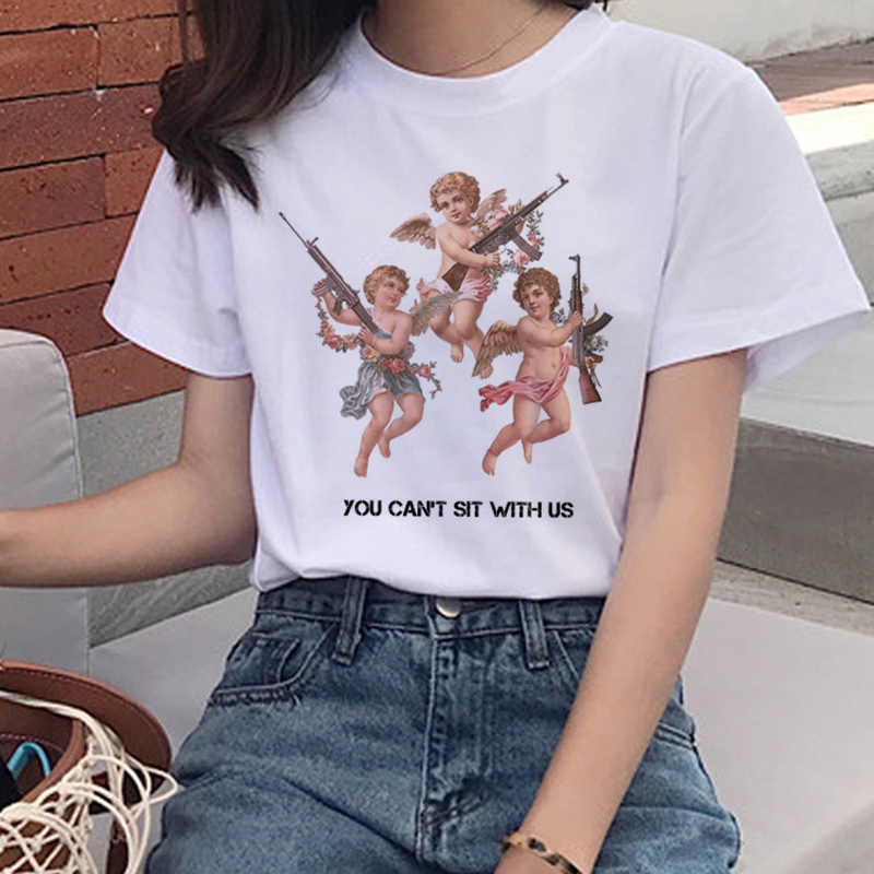 Harajuku Angel Kawaii T Shirt Women Ullzang Cute Baby Angels T-shirt 90s Graphic Aesthetic Tshirt Korean Style Top Tees Female