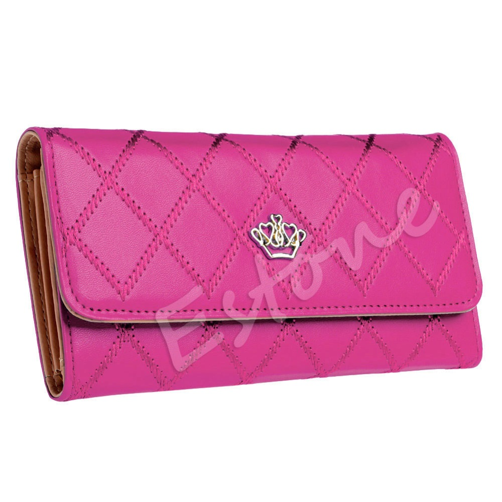 New 2017 casual high-capacity women wallets Lingge metal crown lady long day clutch wallet high quality purse for women girls fuzzy metal clutch wallet