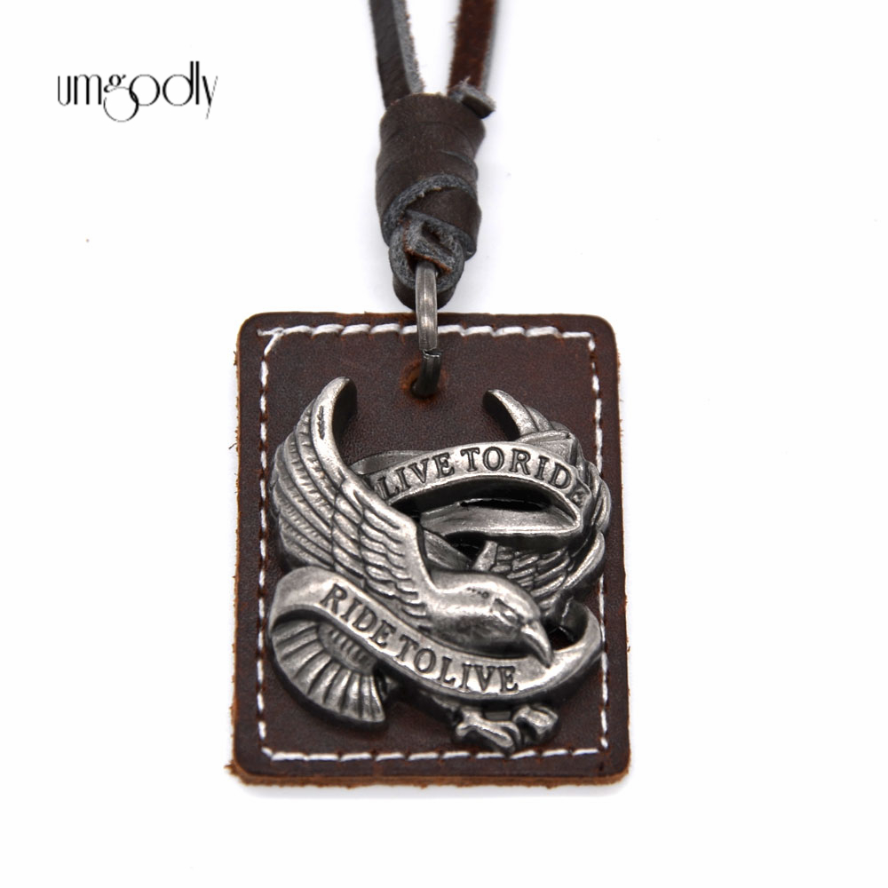 Umgodly 2017 Hot Cool Men Women Punk Rock Collar de cuero genuino Live To Ride Fashion Charm Eagle Pendant Motorcycle Jewelry