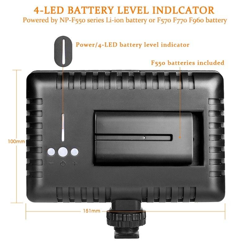SAMTIAN fotografía iluminación LED Video luz 160 Uds Panel luz regulable con trípode para cámara Video estudio foto fotográfica - 3