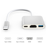 USB3.1-Tipo C para HDMI/USB 3.0/-Tipo c Cabo Conversor Adaptador suporte 4 K para MacBook Livro Cromo Pixel Dell USB-C Dispositivos EZ01