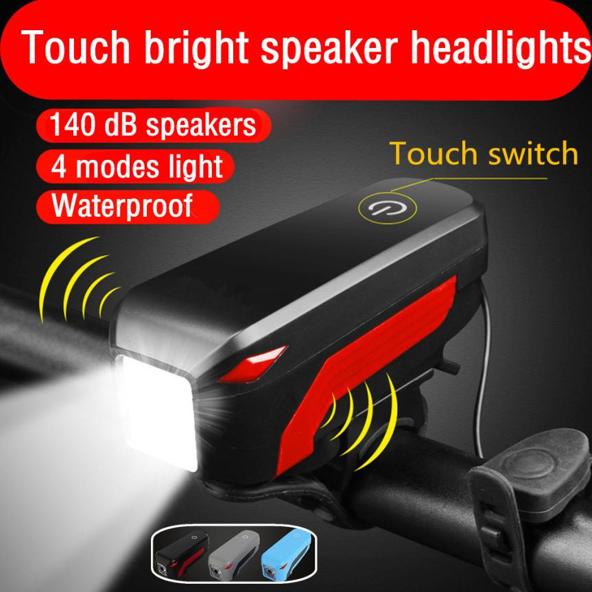 Bike Lights Touch Bright Speaker Headlights With 140dB Horn IP45 Waterproof Rechargeable LED Bicycle Cycling Accessories PJ3