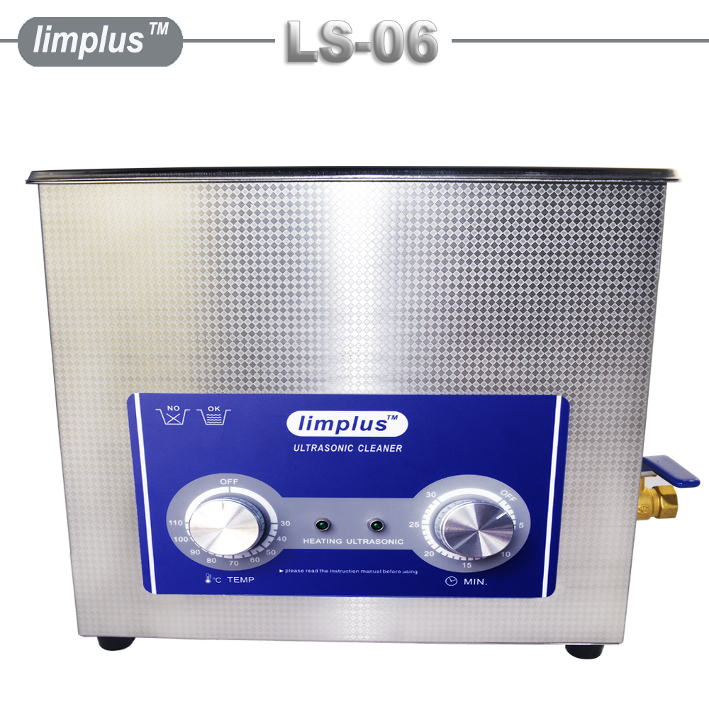 Commercial Ultrasonic Cleaner 6L Knob Control 180W Free Basket Cleaning Jewelry Watch Glasses Machine Large Capacity