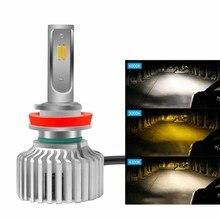 Новый дизайн 3 цвета H7 светодиодные фары автомобиля H4 H1 9005 9006 9007 H8 H9 H11 автомобиль свет 3000 К 4300 К 6000 К H3 9012 LED лампа накаливания авто
