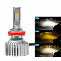 New Design 3 Color H7 Led Car Headlight H4 H1 9005 9006 9007 H8 H9 H11