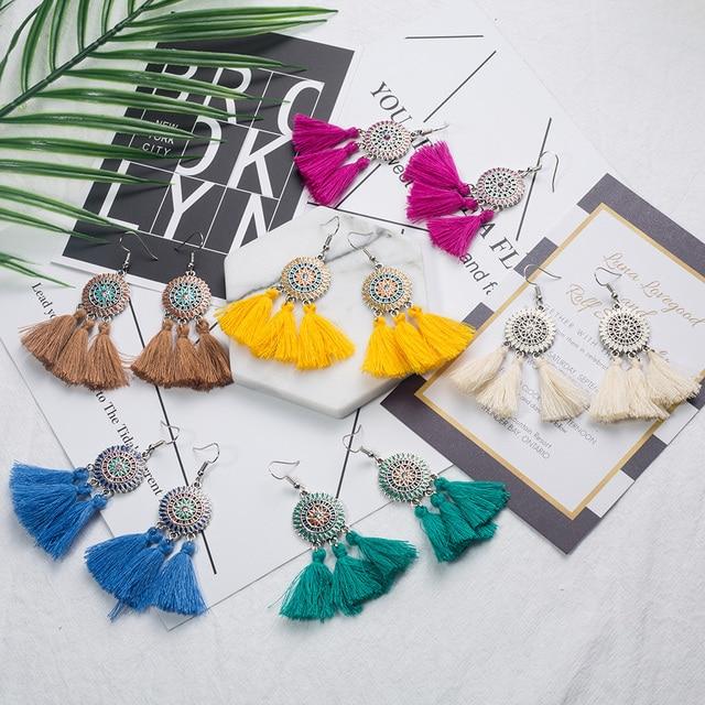 Ethnic earrings for women Cross long cloth tassel earring Dreamcatcher drop bohemia vintage statement boucle d'oreille brinco 5