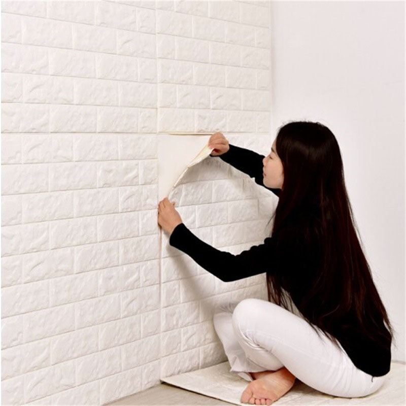 3D Embossed Brick Wall Stickers DIY Foam Waterproof Self-adhesive Wall Sticker For Living Room Kitchen TV Backdrop Decor 60*30CM