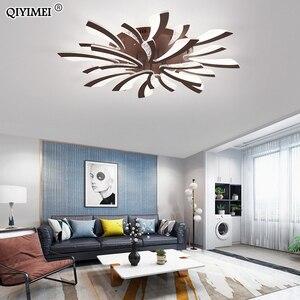 Image 2 - 現代のled天井のシャンデリアが点灯リビングルームベッドルームダイニングルームのため研究ルーム白黒ボディAC90 260Vシャンデリア器具
