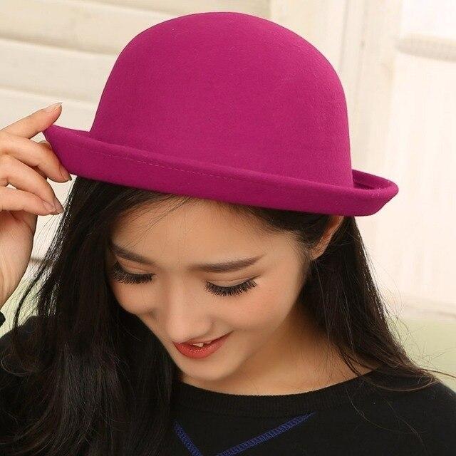 f6b4d7d3 € 3.62 |1 piezas sombrero de moda las mujeres modernas de invierno de lana  Vintage redondo sombrero gorra regalos ropa accesorios para mujer Niña ...