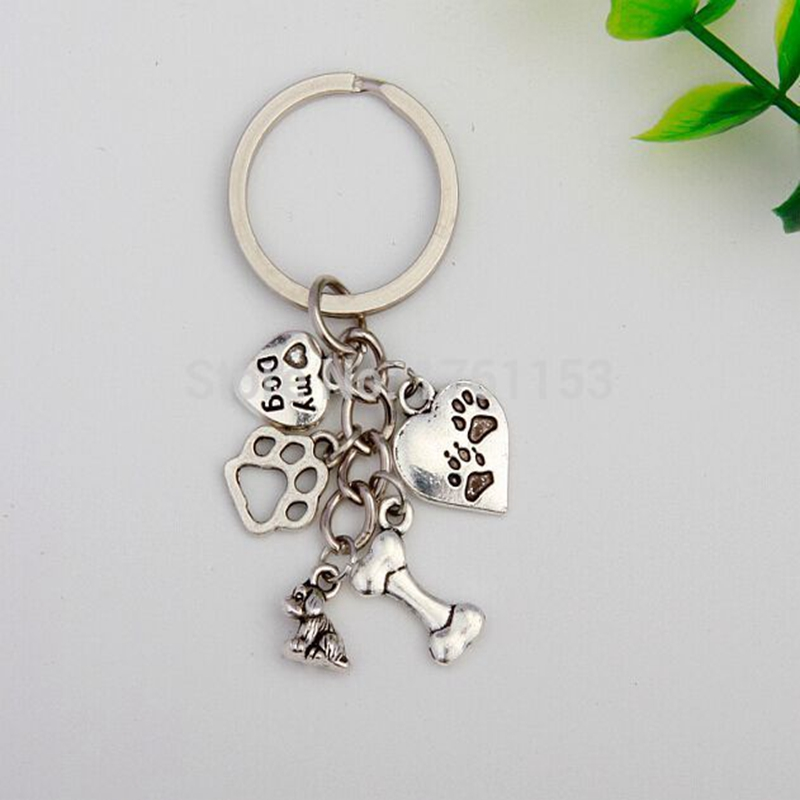 Hot Sale Dog Bone Dog Paw Heart Charm 5 Pendant Alloy Keyring Women Girl Bag Keychain For Dog Lover Men Jewelry Aceessories Gift