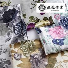 Tissu de Satin imprimé fleuri de tissu Vintage bon marché pour la robe de couture et le mouchoir L18