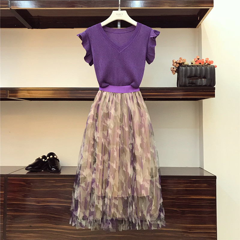HAMALIEL Summer Women Skirts Suit Fashion Violet Knitted Thin Ruffles Sweater Tops + Elegant Print Mesh Pleated Long Skirt Sets