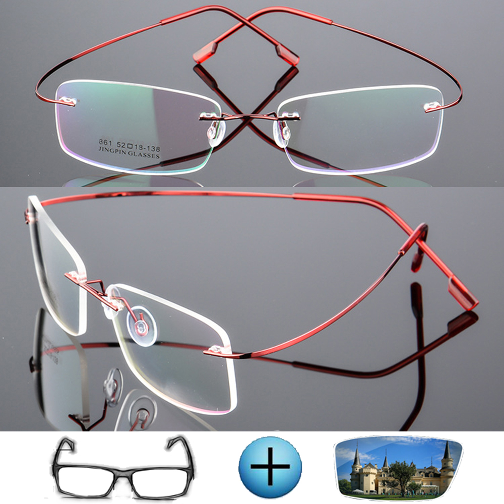 Prescription Glasses Myopia Photochromic Optical-Frame Rimless Titanium 9-Colors Ultra-Light