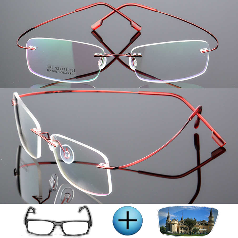 9 Colors Ultra-light Titanium Alloy Rimless Optical Frame Custom Made Prescription Glasses Photochromic Myopia Near-sighted