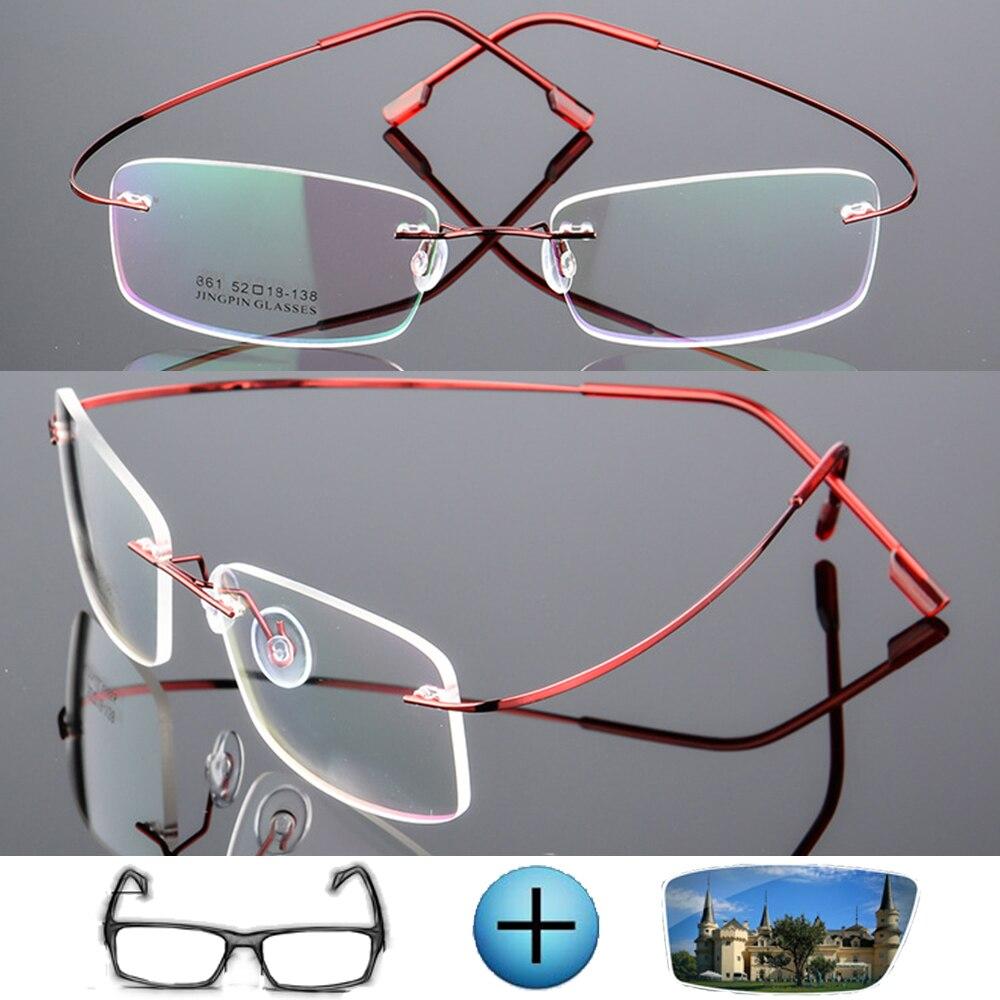 9 Colors Ultra-light Titanium Alloy Rimless Optical Frame Custom Made Prescription Glasses Photochromic Myopia Near-sighted