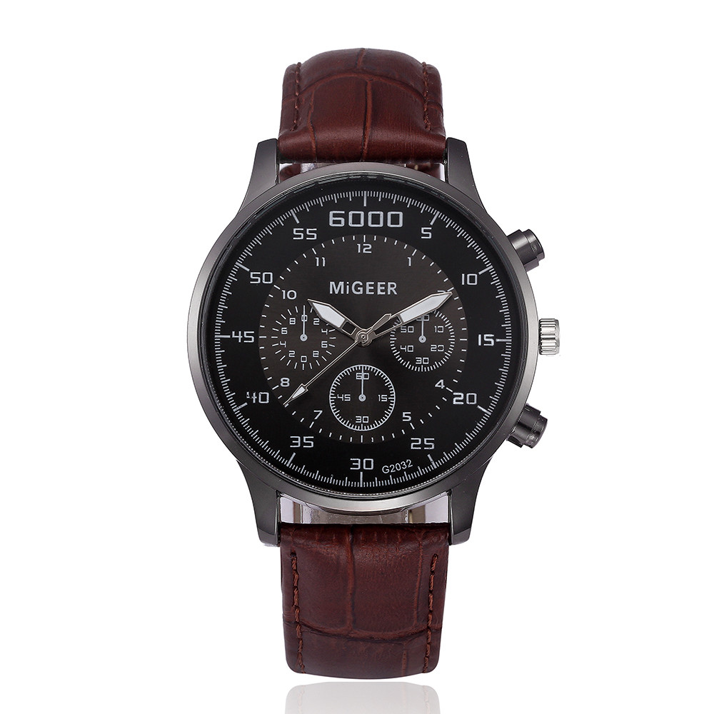 MIGEER Men Retro Design Leather Band Analog Alloy Quartz Wrist Watch bayan kol saati Black Brown Casual Business luxurious clock