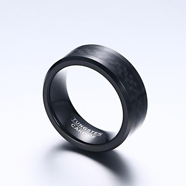 Black Carbon Fiber Tungsten Carbide Ring