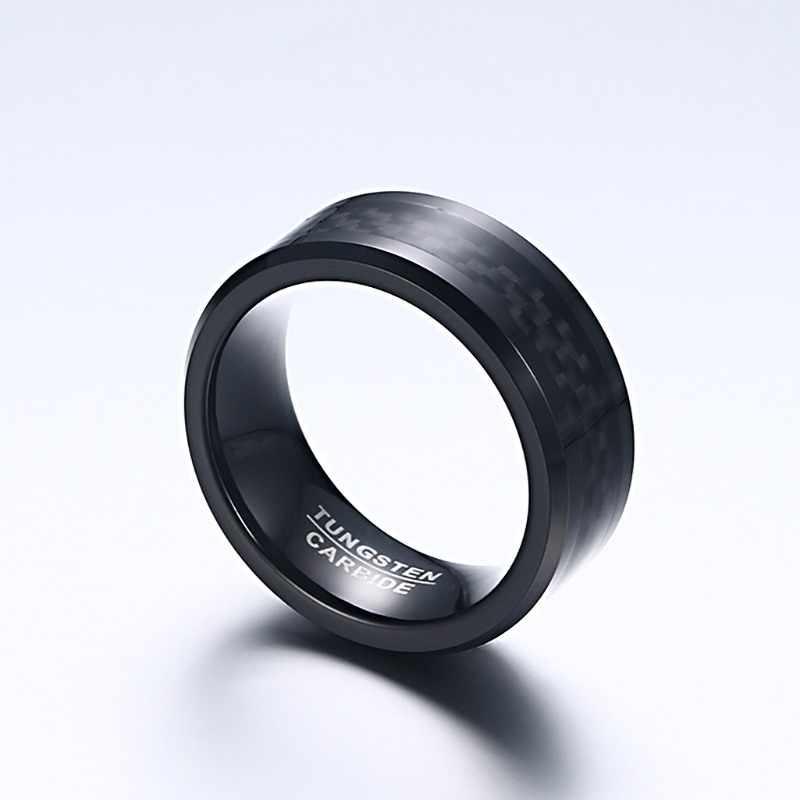 Meaeguet שחור סיבי פחמן טונגסטן קרביד טבעת לגברים חתונה להקות אירוסין תכשיטי אנל