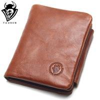 TAUREN 100 Genuine Leather Men Wallets OIL LEATHER Vintage Trifold Wallet Zip Coin Pocket Purse Cowhide