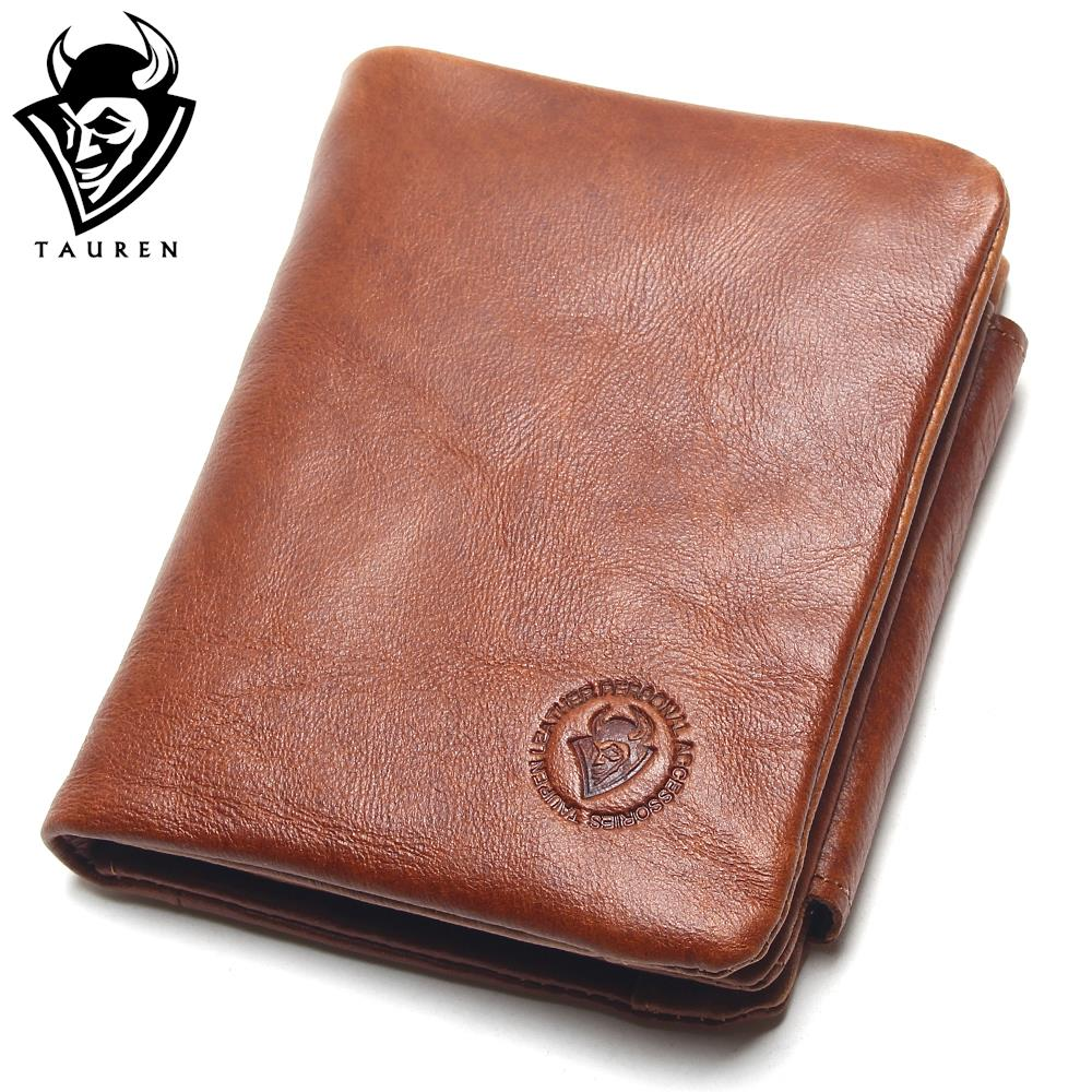 TAUREN 100 Genuine Leather Men Wallets OIL LEATHER Vintage Trifold Wallet Zip Coin Pocket Purse Cowhide