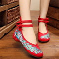 Big Size 41 Woman Flat Shoes Sequined Peacock Embroidery Shoes For Women Chinese Old Peking Soft Sole Casual Cloth Dancing Shoes