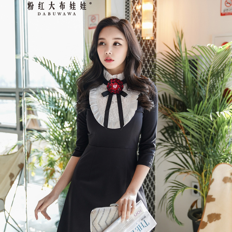 Dabuwawa Women Long Sleeved A Line Bow Dress Contrast Color Splicing Dress Fashion Floral Sweet Mini