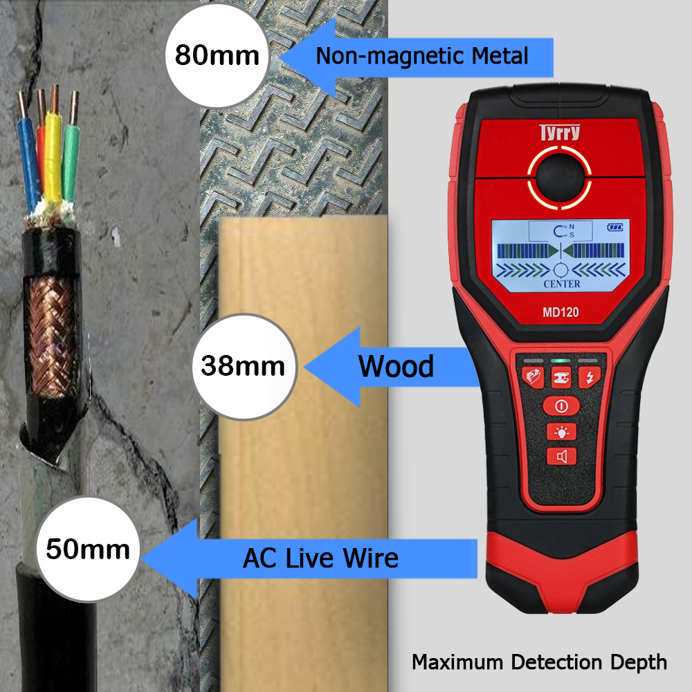 MD120 Multifunctional Portable Digital Wall Detector Metal Wood AC Charged Cable Finder Wall Diagnostic-tool Backlight uni t ut387b wall detector multifunctional handheld wall tester metal wood ac cable finder wall scanners