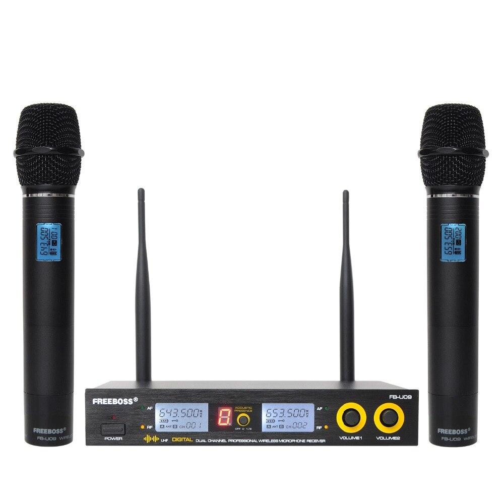 Freeboss FB-U09 double voie numérique UHF Microphone sans fil avec 2 poignées en métal