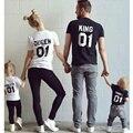 Новые Вершины Семьи Король Королева Письмо Печати Рубашка, 100% Хлопок Пары футболки Сын и Дочь Детская Одежда Принцесса Принц плюс Размер