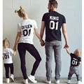 New Tops Family King Queen Letter Print Shirt,100% Cotton Couples tshirt Son&Daughter Kids Clothes Princess Prince Plus Size
