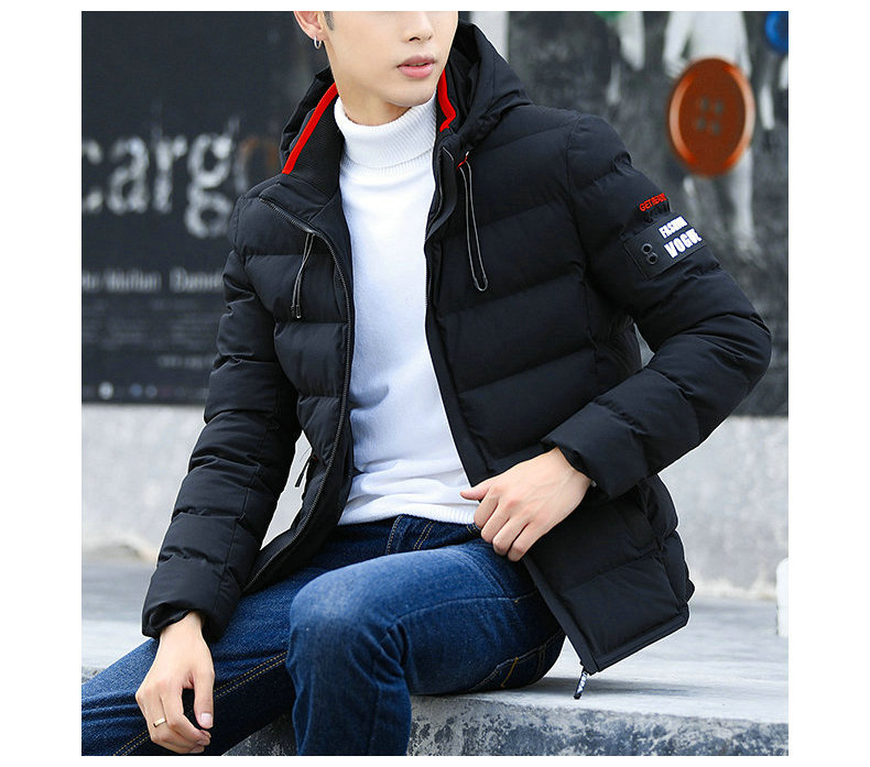 drop shipping New Fashion Men Winter Jacket Coat Hooded Warm Mens Winter Coat Casual Slim Fit Student Male Overcoat ABZ82 4