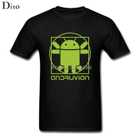 Vitruvian Android T Shirt For Men Creative Short Sleeve Cotton Custom XXXL Family Robot T Shirts