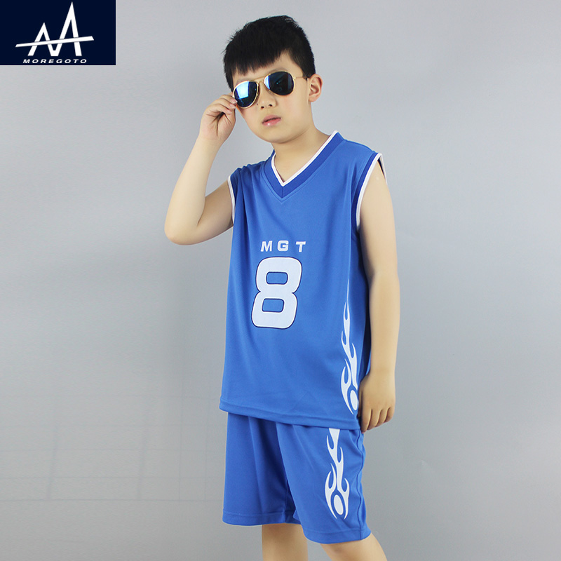 Summer Children Clothing Set Training Suit Teenage Boys Basketball Jersey Sets 100% Polyester Sports Clothing Set for Fat Boy