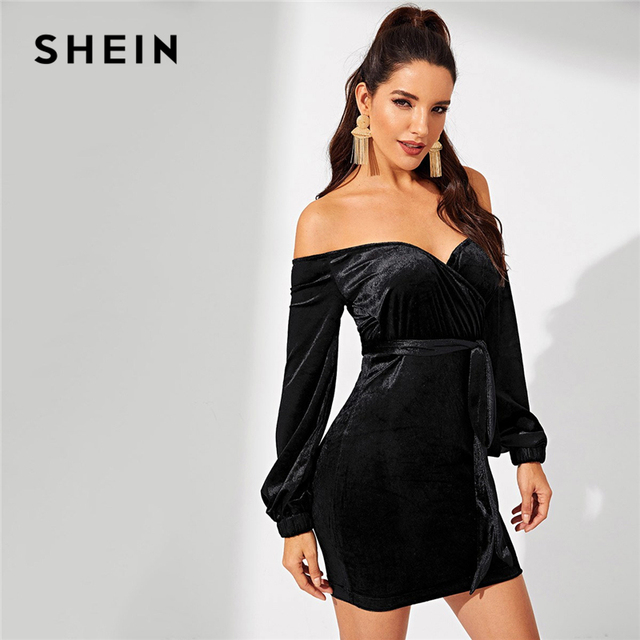 c947dce497 SHEIN Night Out Black Waist Belted Off Shoulder Velvet Bishop Sleeve  Bodycon Dress Autumn Modern Lady Workwear Women Dresses