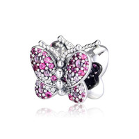 100% 925 Sterling Silver Dazzling Butterfly Charm Bead With Pave CZ Fits Pandora Snake Chain Bracelets DIY Making Jewelry