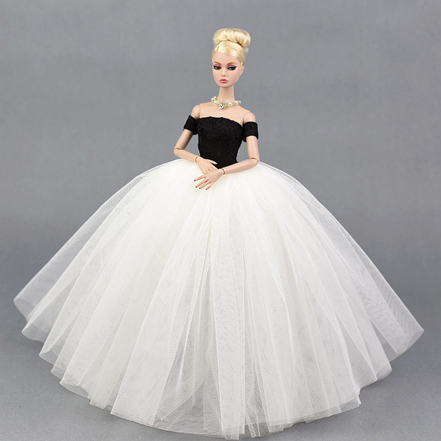 40a45c05dfebf US $4.74 5% OFF|Dress + Veil / White & Black Evening Dress Gown Bubble  skirt Clothing Outfit Accessories For 1/6 BJD Xinyi FR ST Barbie Doll-in  Dolls ...