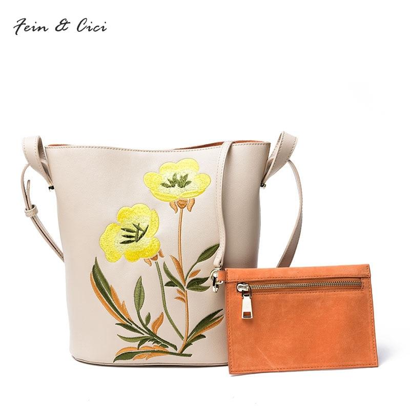 women genuine leather bag embroidery bucket totes bag 100% really cow leather flower bags basket handbag 2017 beige red black