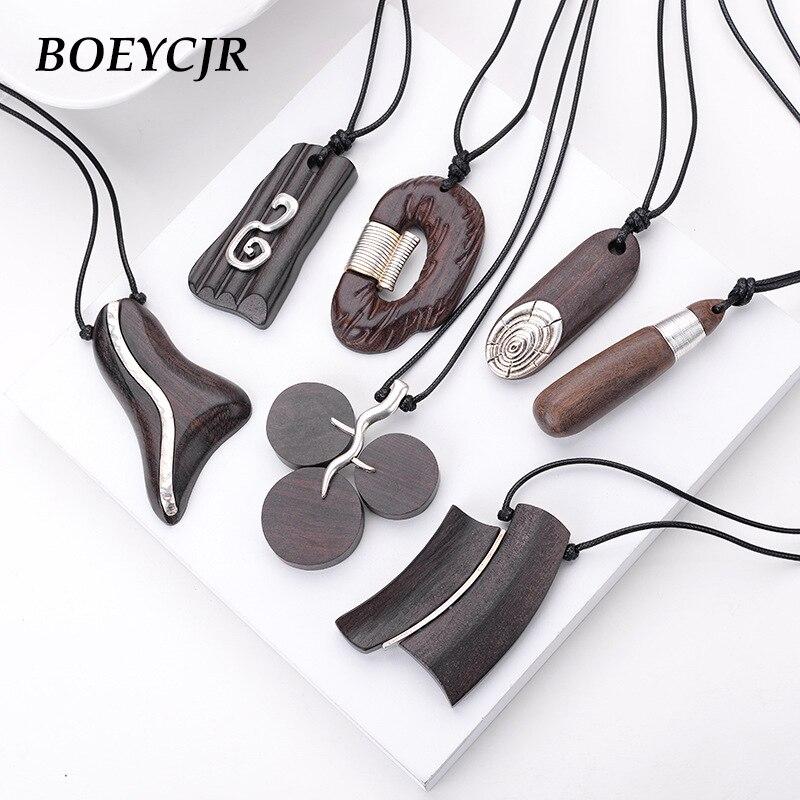 BOEYCJR 19 Styles Available Yoga Alloy Wood Necklace Handmade Meditation Ethnic