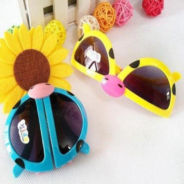 319dbfe34a32 Hot Kawaii Children Sunglasses Foldable Kids Lovely Cartoon Sun Glasses  Beetle Pattern For Boys Girls Accessories Gafas Oculos
